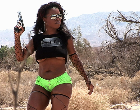 Hot Black Rebel Girl with Gun Nude