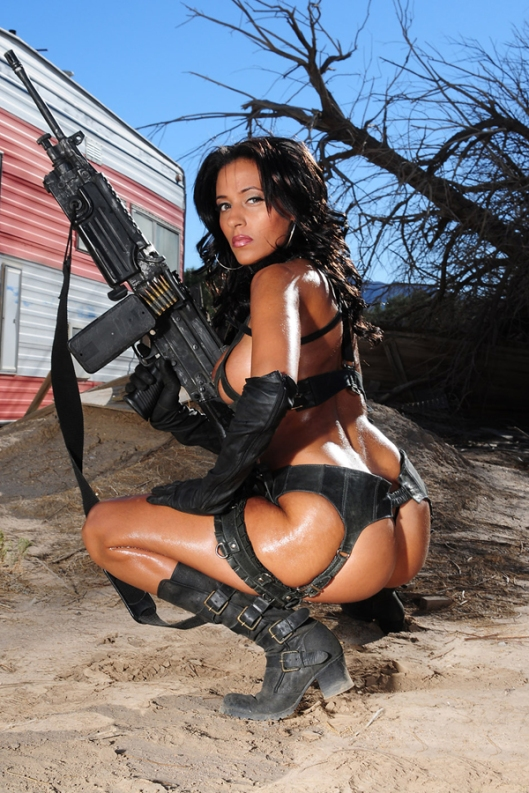 Hot Rebel Girl with Machine Gun Nude