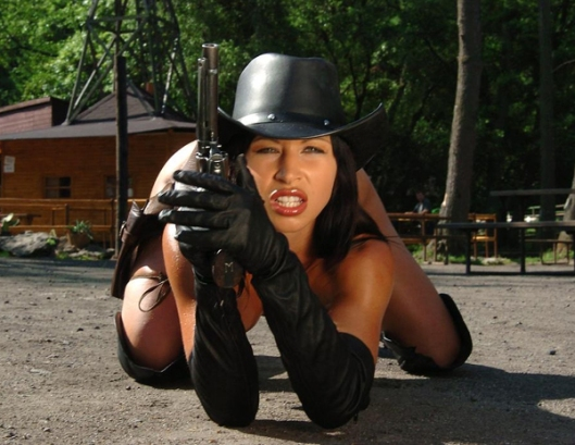 Hot Rebel Girl with Six Gun Nude