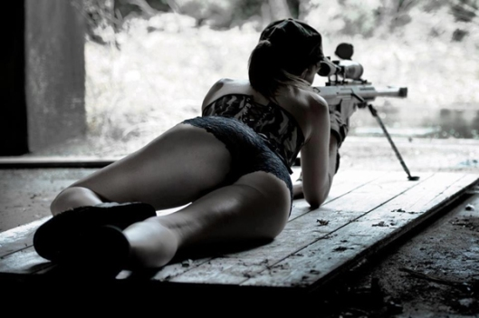 Hot Semi-Nude Girl Shooting Sniper Rifle