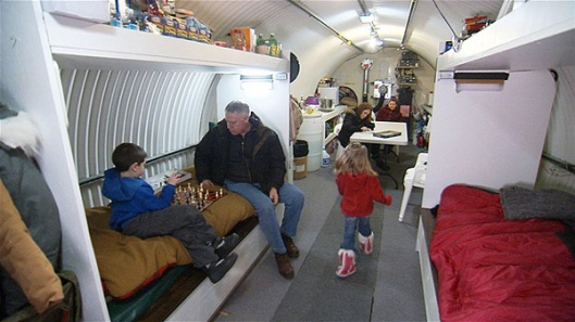 Peter Larson and Family in Underground Shelter