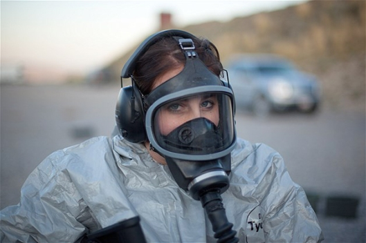Prepper in Biological and Chemical Protective Gear