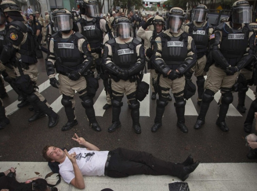 State Troopers in Riot Gear - Peace Protester
