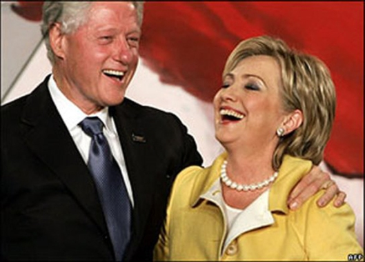 The Clintons Laughing Image